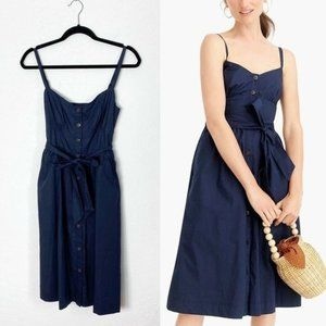 J Crew Classic Button Front Sundress Navy Pockets